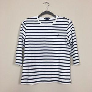 Ralph Lauren Sport Navy & White Stripe Tee sz L